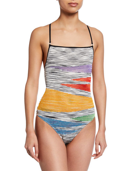 Missoni Knits SQUARE-NECK KNIT TIE-BACK ONE-PIECE SWIMSUIT
