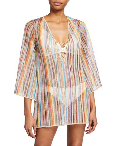 Striped Lace-Up Coverup