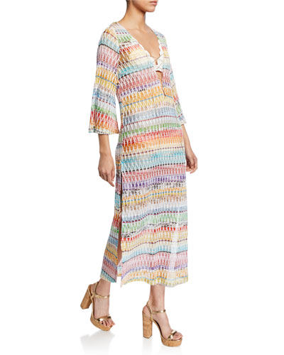 Knit Zigzag Long Caftan Coverup