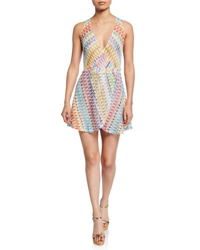 Deep V Sleeveless Zigzag Short Dress