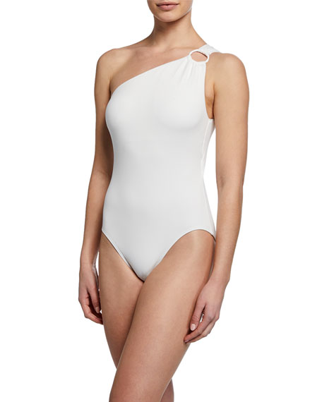 Carmen Marc Valvo Suits STRAPPY ONE-SHOULDER ONE-PIECE SWIMSUIT