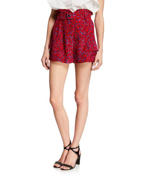 Printed Paperbag-Waist Shorts