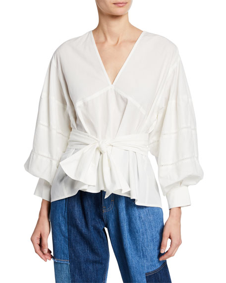 Bell-Sleeve V-Neck Top with Waist Tie