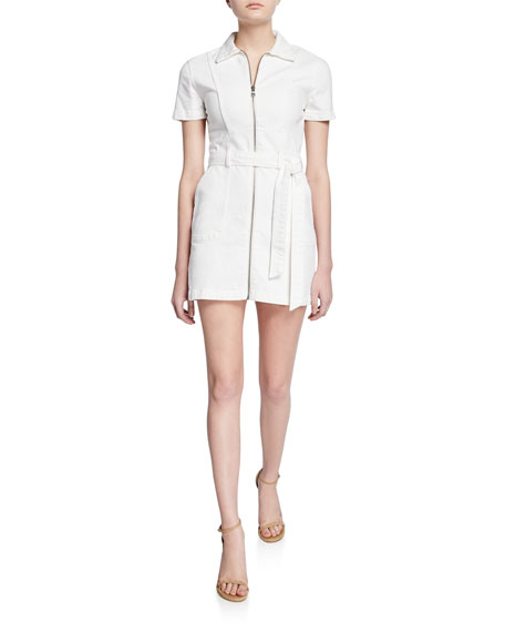ALICE + OLIVIA JEANS Gorgeous Zip-Front Short-Sleeve Mini