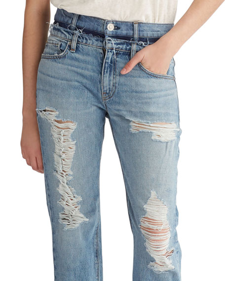 Jessi Relaxed Cropped Jeans with Destruction