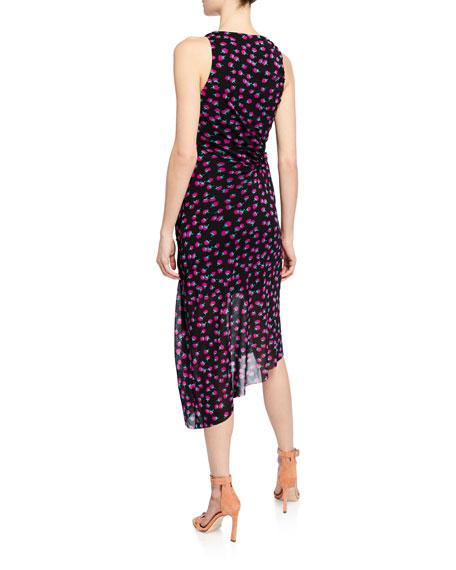 Maia Printed Sleeveless Ruched Midi Dress