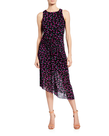 Diane von Furstenberg Maia Printed Sleeveless Ruched Midi