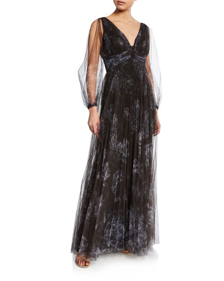 Marchesa Notte Tops FLORAL-PRINT PLEATED V-NECK BISHOP-SLEEVE TULLE GOWN