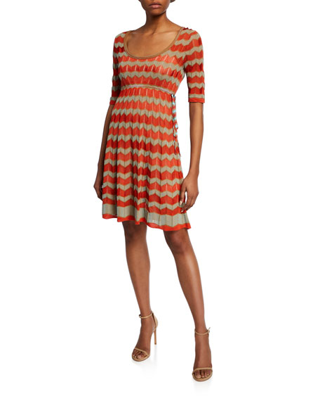 M Missoni Dresses SHORT-SLEEVE ZIGZAG STITCH SHORT DRESS