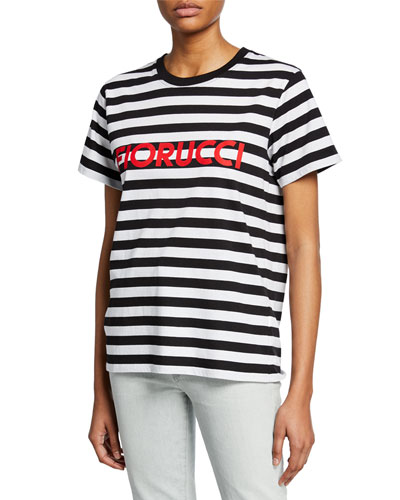 Striped Logo Short-Sleeve Cotton Tee
