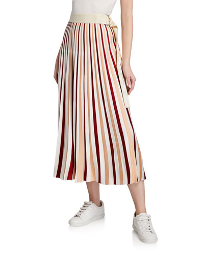 Moncler Genius Striped Midi Skirt w/ Belt