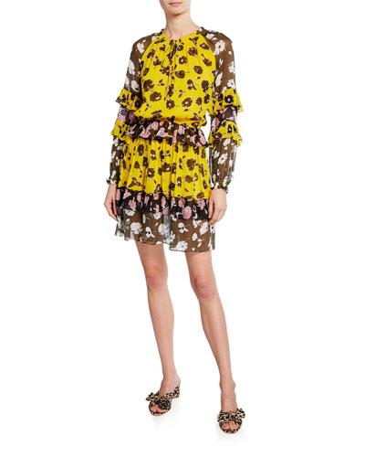 Haven Printed Silk Drop-Waist Dress