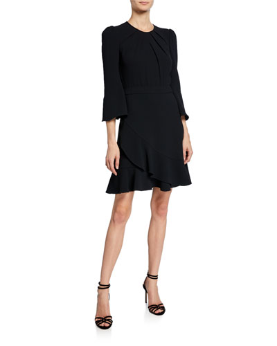 Rosina Draped 3/4-Sleeve Cocktail Dress