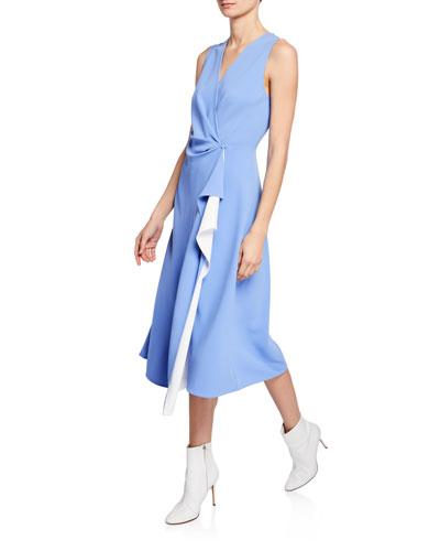 Addison Draped A-Line Midi Dress