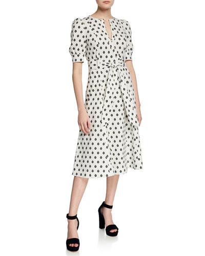 Della Printed Button-Front Midi Dress