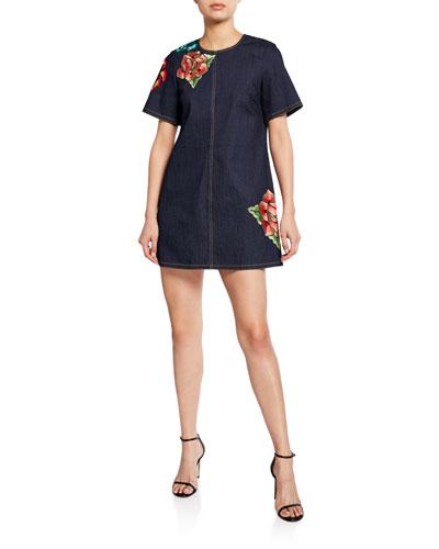 Ashton Floral Embroidered Shift Denim Dress