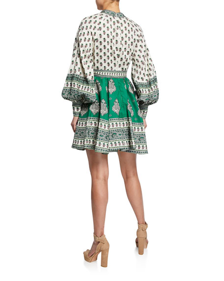 Amari Printed Button-Front Mini Dress