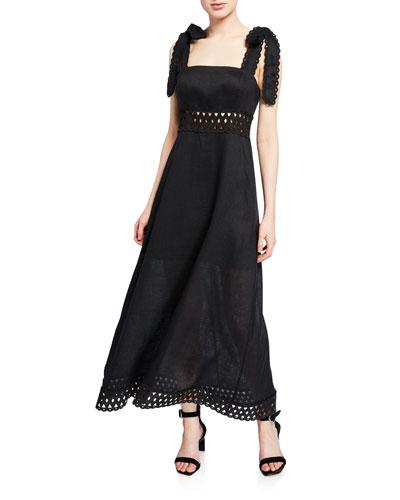 Verity Laser-Cut Picnic Tie-Strap Dress
