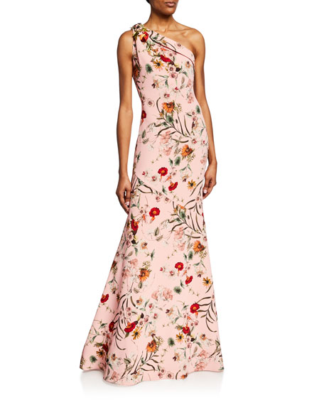 b5ef78465f7f Badgley Mischka Collection Floral-Print One-Shoulder Sleeveless Gown