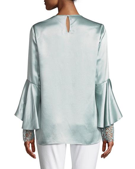 Kaia Flutter-Sleeve Silk Blouse