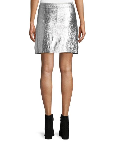 Patent Leather Wrap Mini Skirt