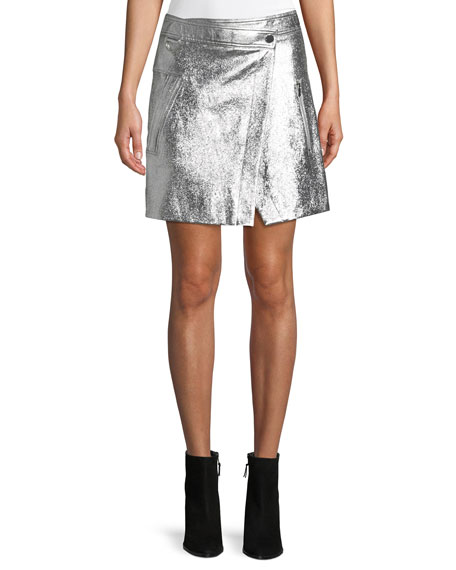 Patent Leather Wrap Mini Skirt