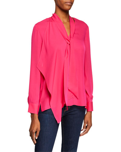 Marzy Tie-Neck Long-Sleeve Silk Blouse