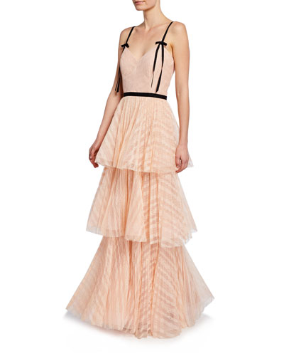 b63bf35099b9 Sweetheart Sleeveless Tiered Lace Gown Quick Look. Marchesa Notte