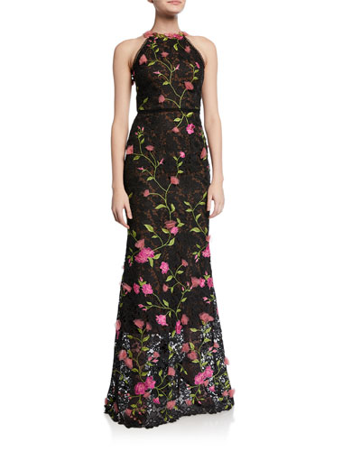 Embroidered Halter Gown with 3D Flowers