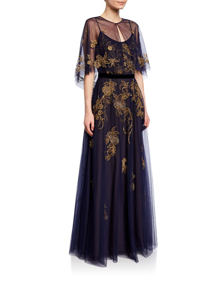 Marchesa Notte Sleeveless Metallic Tulle Gown with Capelet