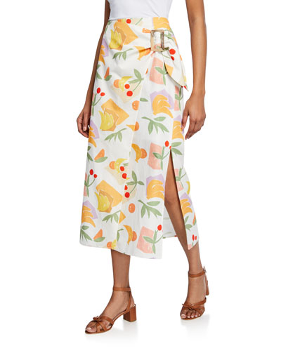 Robin Printed Cotton-Blend Midi Wrap Skirt