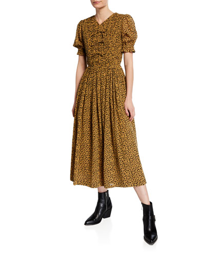 Kristen Leopard-Print Short-Sleeve Midi Dress