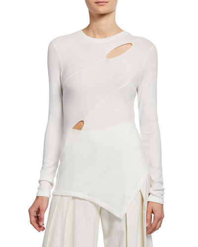 Cady Long-Sleeve Asymmetric Cutout Top