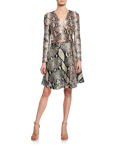 Amelia Python Long-Sleeve Wrap Dress
