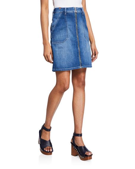 Malia Zip-Front Denim Skirt