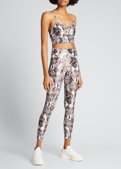 Lustrous High-Rise Camo-Print Leggings
