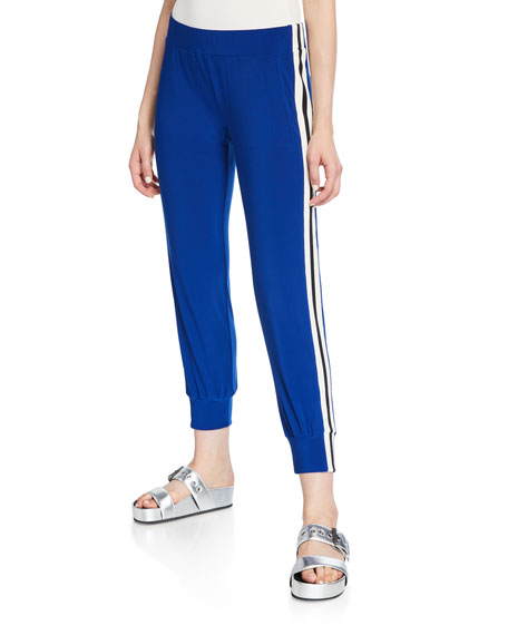 Norma Kamali Side-Stripe Sporty Jogger Pants