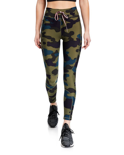 Army Camo-Print Drawstring Midi Yoga Pants