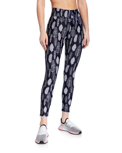Feather-Print Drawstring Midi Yoga Pants
