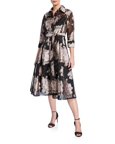 7f2dedee17 Floral Burnout Jacquard Organza Shirtdress Quick Look. Rickie Freeman for Teri  Jon
