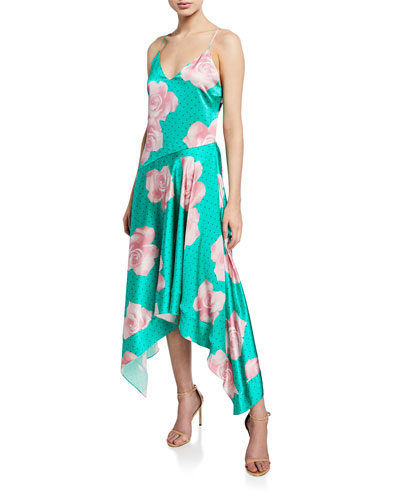 Floral-Print Handkerchief Dress
