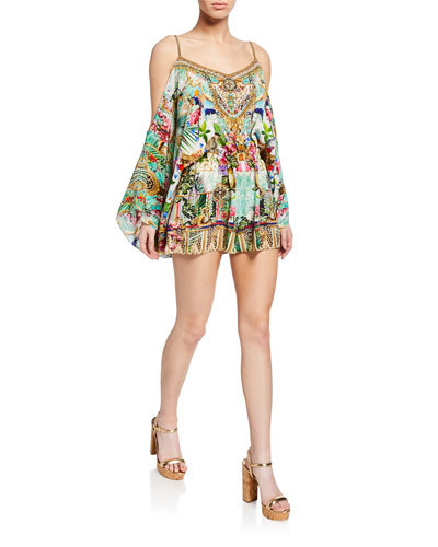 Cold-Shoulder Printed Silk Romper