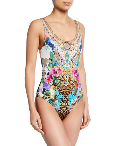 Scoop-Back Printed One-Piece Swimsuit