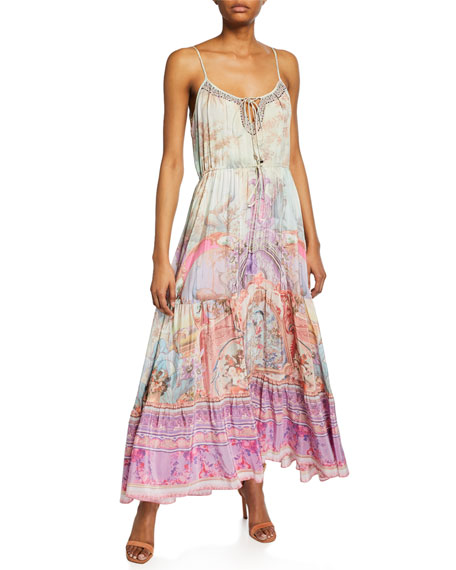 Camilla Dresses PRINTED MAXI DRESS WITH FRONT TIE DETAIL