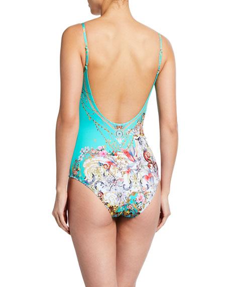 Printed Scoop-Neck One-Piece Swimsuit