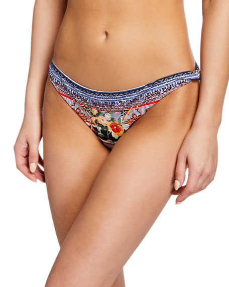 Camilla Printed Hipster Bikini Bottom w/ Trim