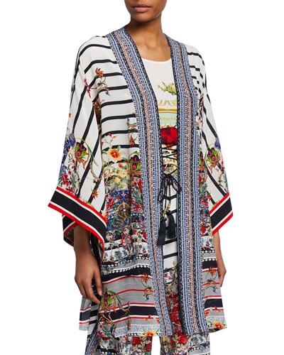 Printed Silk Kimono with Belt