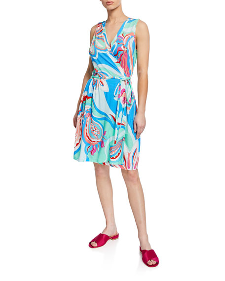 Emilio Pucci Dresses PRINTED SLEEVELESS COVERUP WRAP DRESS