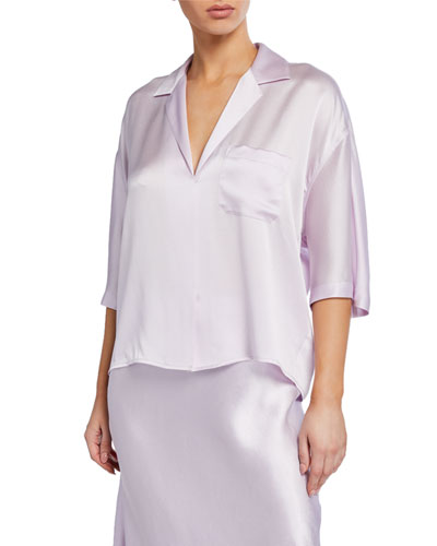 Short-Sleeve Satin PJ Shirt