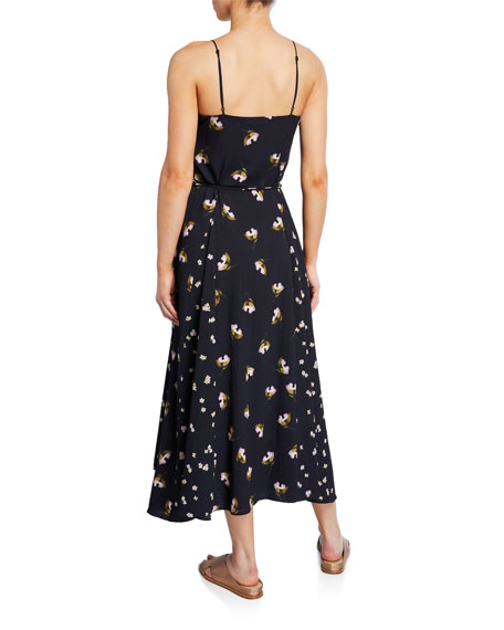 Mixed Ditzy Hibiscus Spaghetti-Strap Dress